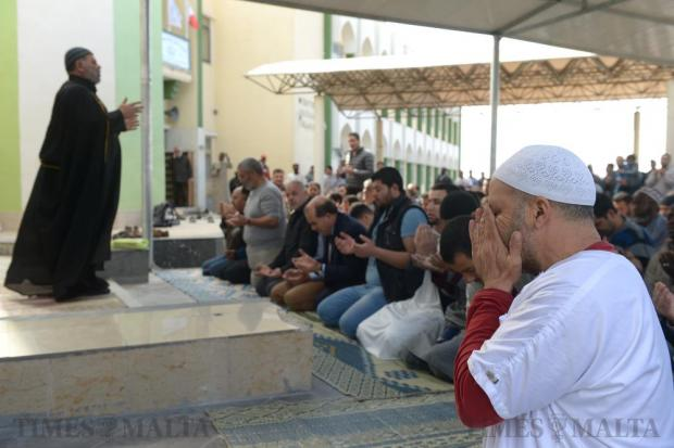 Some 200 Muslims gather at the Paola mosque to pray for rain on February 26. The prayer, known as a Salat al Istisqa (prayer for rain) followed similar calls for prayer at several rural parishes. This winter has been one of the driest for several years. Photo: Matthew Mirabelli