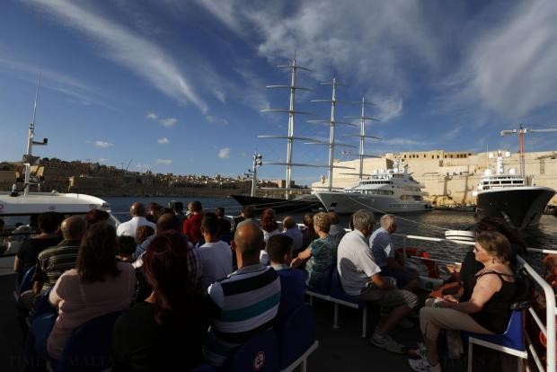 People use the harbour ferry across Grand Harbour to travel from Vittoriosa to Valletta on October 11. Photo: Darrin Zammit Lupi
