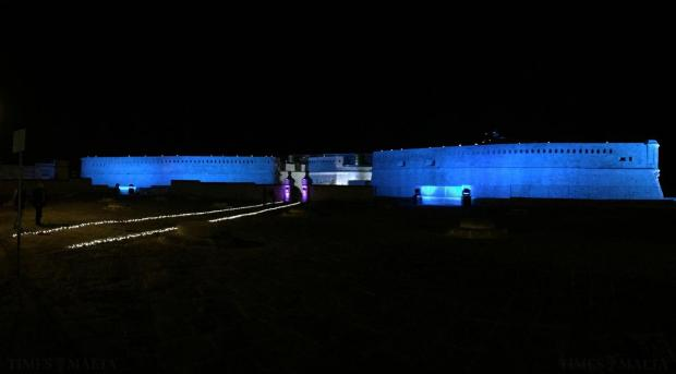 The newly-restored upper Fort St Elmo is lit on the occasion of its inauguration on May 8. Photo: Jason Borg
