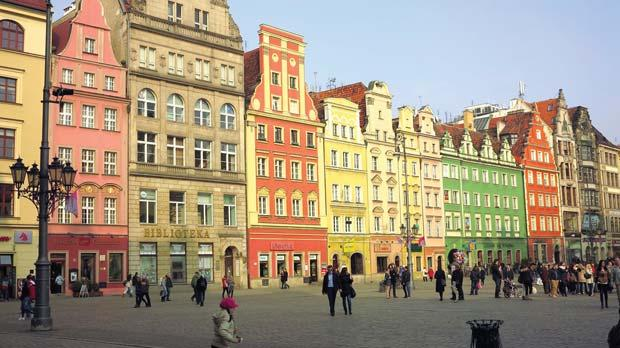 Colourful houses on Wroclaw's main square.
