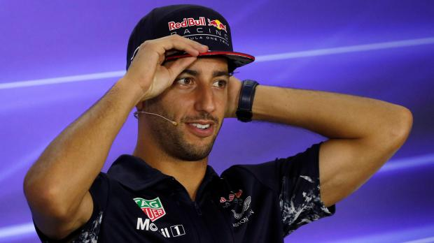 Redbull F1 driver Daniel Ricciardo speaks during a news conference.