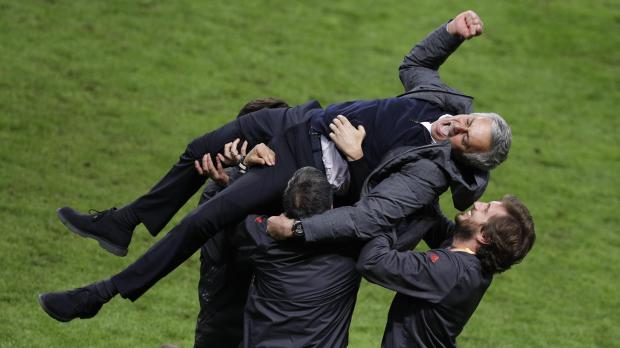 Jose Mourinho wiped out by his son in Europa League celebrations