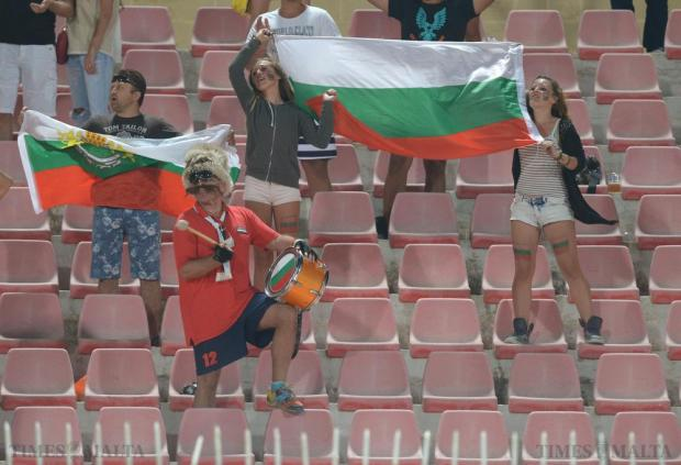 Bulgarian fans celebrate their team's 1-0 win over Malta in their 2016 UEFA European Championship qualifying match against at the National Stadium in Ta'Qali on June 12. Photo: Matthew Mirabelli