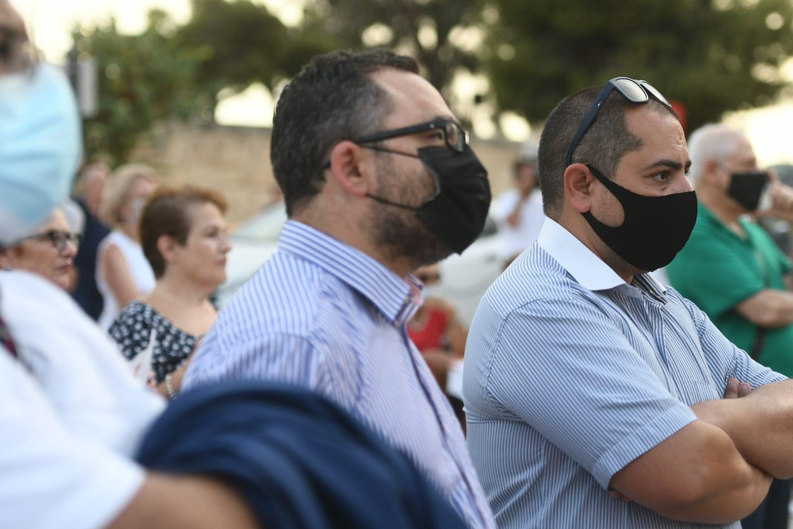 President of the Institute of Maltese Journalists and Times of Malta assistant editor Matthew Xuereb (right), and IĠM general secretary and MaltaToday online editor Kurt Sansone (left) were among those present for the protest. Photo: Jonathan Borg
