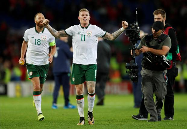Republic of Ireland's James McClean celebrates with David Meyler after the match.