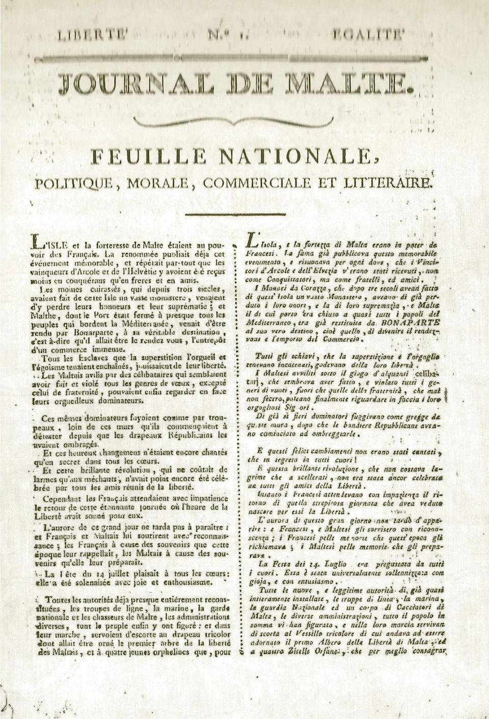 Front page of issue no. 1 of the Journal de Malte, the first newspaper to be published in Malta. Courtesy of the National Library of Malta