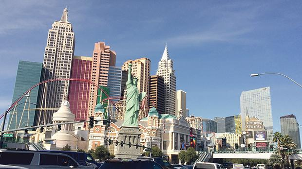 The New York-New York Hotel and Casino in Las Vegas is home to a Statue of Liberty replica at the traffic-choked corner of Tropicana Avenue.