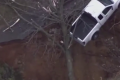 Sinkhole leaves pick-up truck dangling