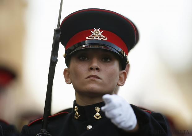 An Armed Forces of Malta soldier marches during a military parade to mark Malta's Republic Day in Valletta on December 13. Photo: Darrin Zammit Lupi