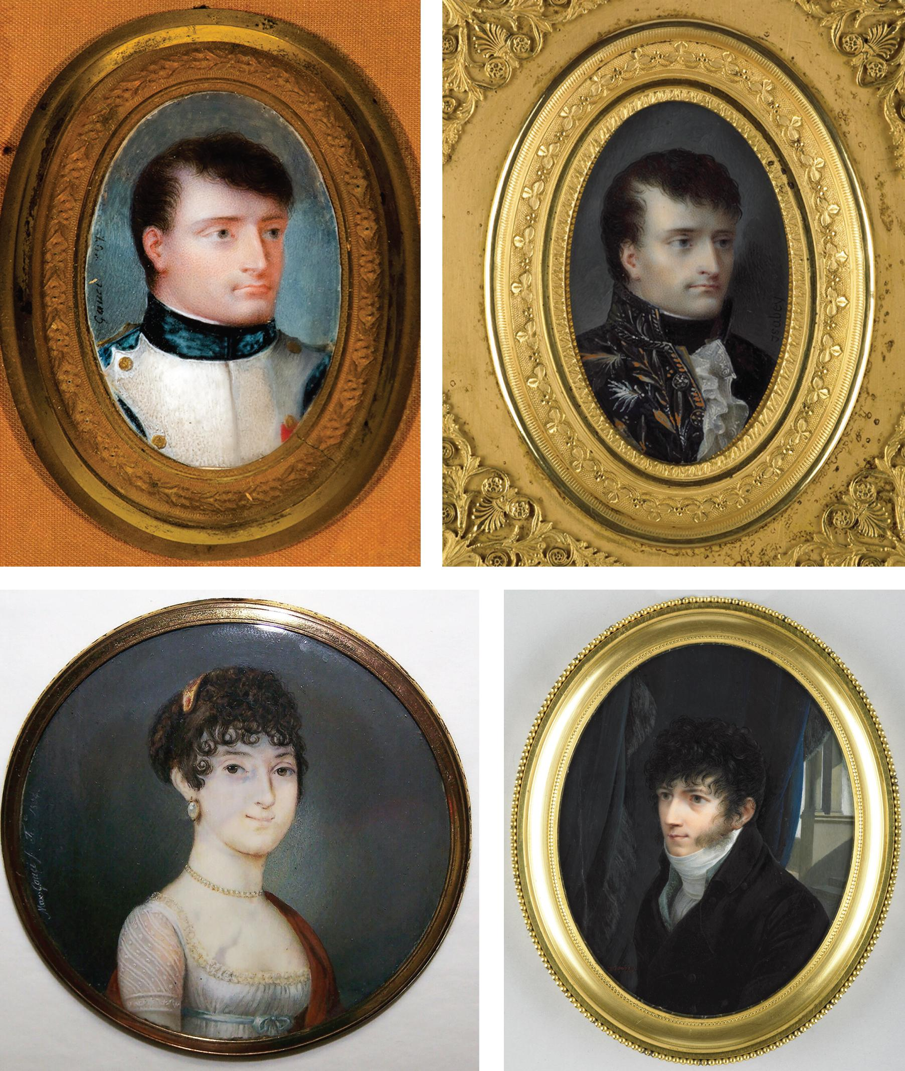 Top, left: Napoleon, (detail) by Maxim Gauci, 1807. Author's collection. Top, right: Napoleon, by Jean-Baptiste Isabey. Courtesy The Wallace collection. Bottow, left: Portrait of a Lady, by Maxim Gauci, 1804. Author's collection. Right: Self-portrait, Jean-Baptiste Isabey. Courtesy The Wallace Collection