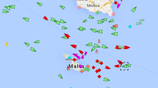 The merchant ship, marked, east of Malta. marinetraffic.com