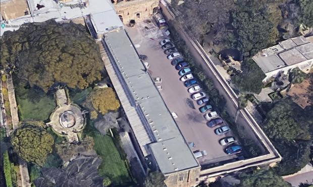 Aerial view of the car park area and the wall that collapsed. Photo: Google Maps