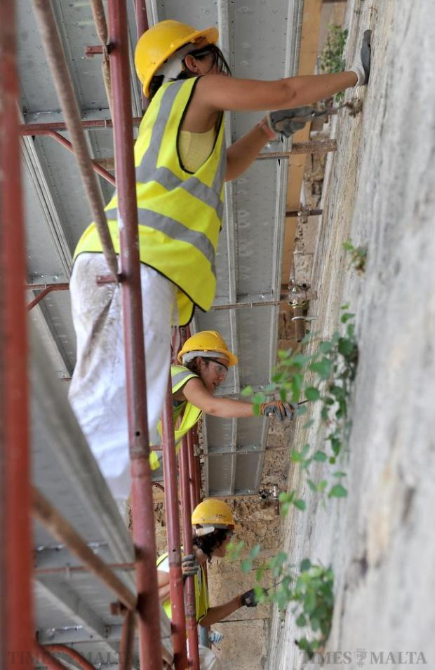 The Mdina bastions undergo restoration on August 26. Photo: Chris Sant Fournier