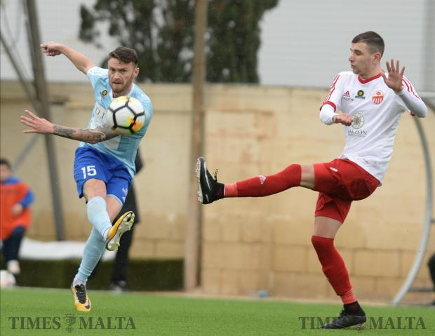 Sliema Wanderers Nikolae Milincenau takes a shot at goal during their BOV Premier League match against Lija Athletic at the Centenary Football Stadium in Ta'Qali on February 3. Photo: Matthew Mirabelli