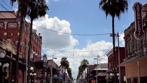 A view down Seventh Avenue in Ybor City in Tampa, Florida. Photo: Brian Blanco/Reuters