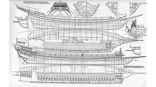 Chapman's drawings of the Capitana.