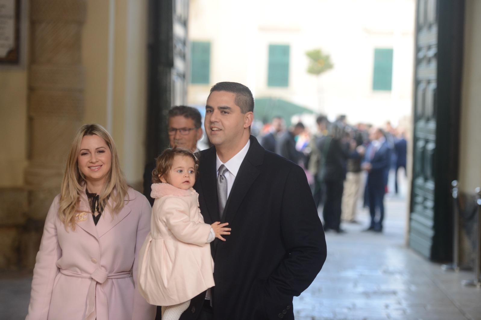 Ian Borg and family arrives for the swearing-in ceremony. He will retain his position as Infrastructure Minister. Photo: Jonathan Borg