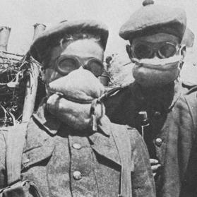 Examples of protection against poison gas used by British troops in May 1915.