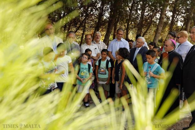 Schoolchildren read out prayers during a tree planting ceremony to mark the occasion of the first World Day of Prayer for the Care of Creation at the Ta' Qali National Park on September 1. Photo: Darrin Zammit Lupi