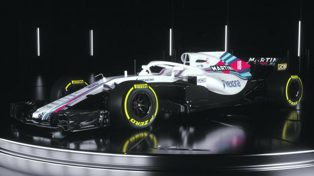 The new Williams Formula One car for the upcoming 2018 season.