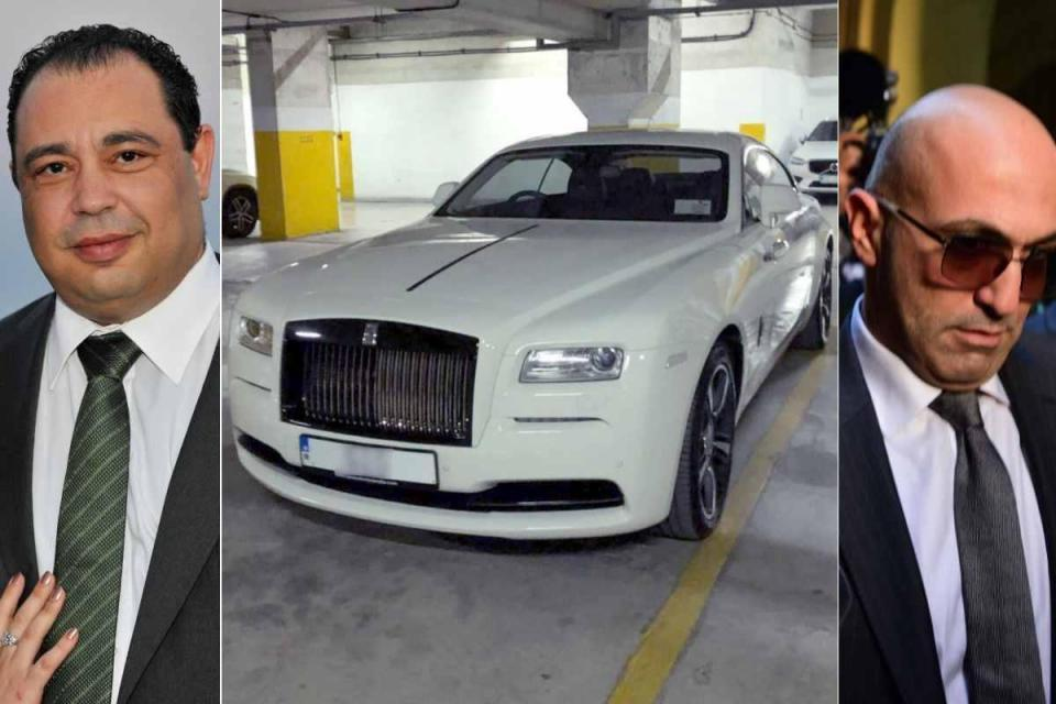 Video found by investigators shows Mr Valletta (left) fooling around behind the wheel of a Rolls Royce owned by Mr Fenech (right).