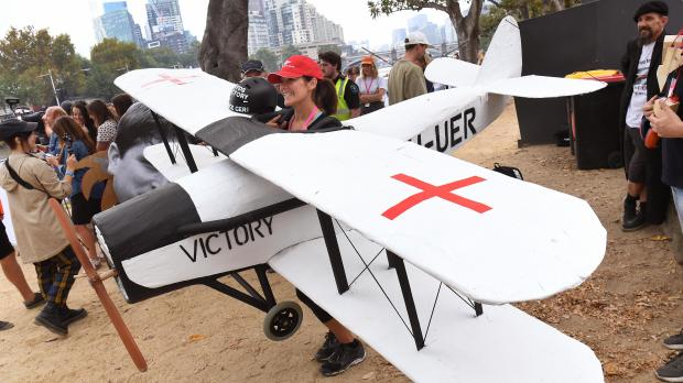 A participant prepares to take to the skies... and then the river. Photo: AFP