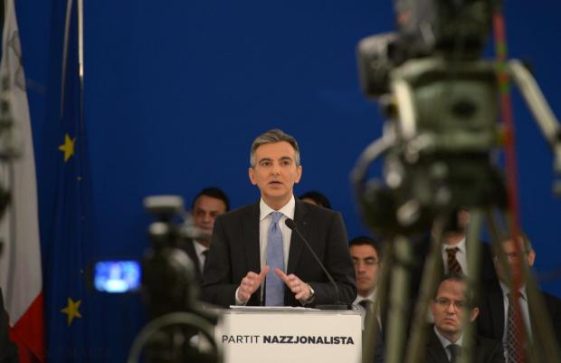 Opposition leader Simon Busutill addresses members of the press at Party headquarters in Pieta on December 9, the morning after Prime Minister Joseph Muscat asked for the resignation of Home Affairs Minister Manuel Mallia. Photo: Matthew Mirabelli