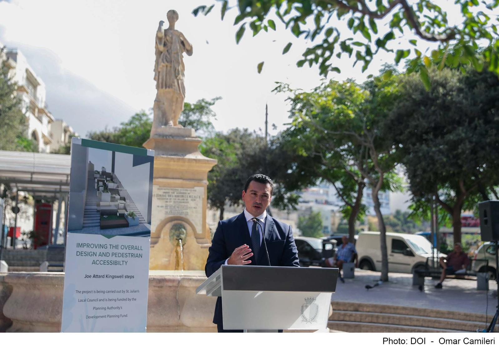 Environment Minister Aaron Farrugia announcing the six new PA embellishment projects Photo: DOI