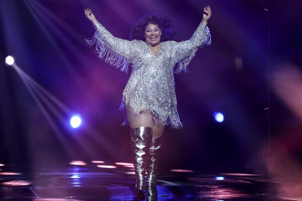 Malta's Destiny arrives on stage during the final of the 65th edition of the Eurovision Song Contest 2021, at the Ahoy convention centre in Rotterdam, on May 22, 2021. Photo: AFP
