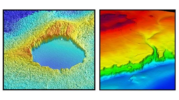 Reconstructed images of a 270 metre wide cave located offshore Marfa and a valley east of Comino.