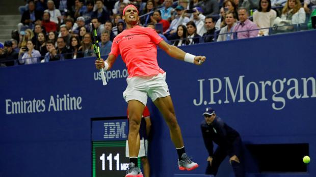 Rafael Nadal of Spain celebrates winning match point in his third round match.