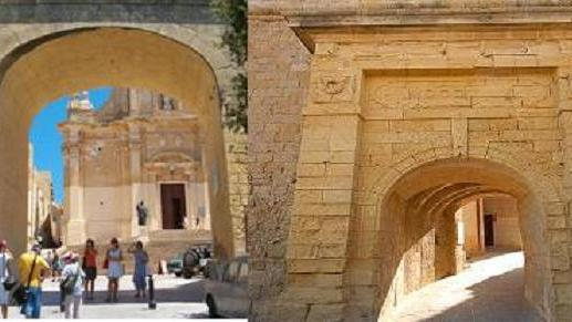 The 1950s gate and the originally gate of Gozo's Cittadella, which is currently hardly used.