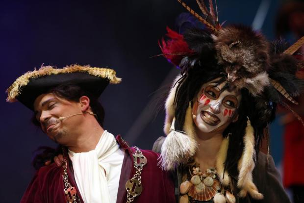 "Actors Joseph Zammit and Steffi Thake plays Squire Huta and Salty Sue respectively in MADC's pantomime ""Treasure Island"" at the MFCC in Ta' Qali on December 18. Photo: Darrin Zammit Lupi"