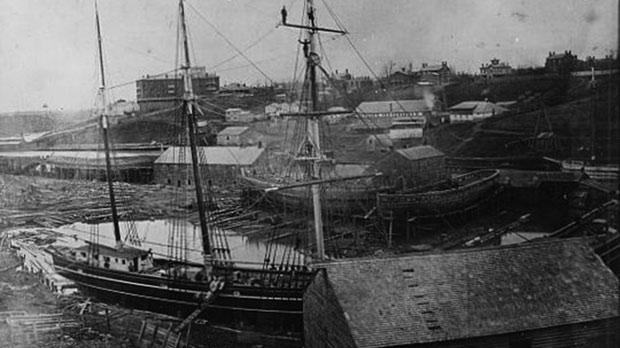 Schikluna's shipyard in 1864.