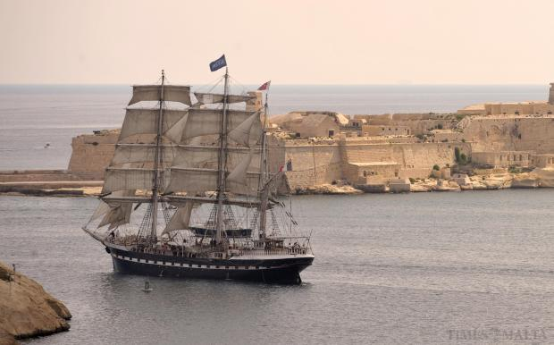 The French sail training ship 'Belem' sails out of Grand Harbour under full sail on her way to Bonifacio, in Corsica, on August 25. The three-masted barque is more than 100 years old and is owned by the Belem Foundation. Photo: Matthew Mirabelli