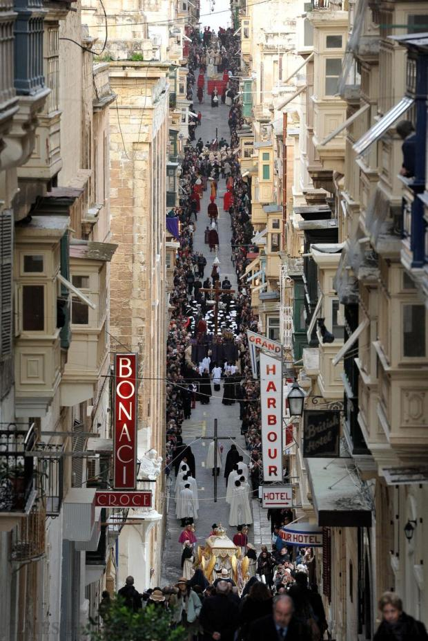 The Good Friday procession in Valletta on April 3. Photo: Chris Sant Fournier