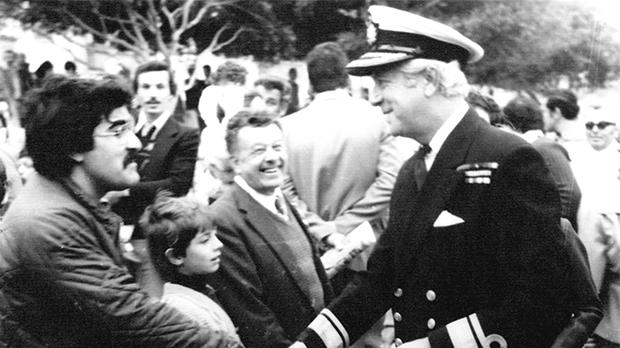 Rear Admiral Nigel Cecil saying goodbye to well-wishers in Kalkara on the day the last British forces left Malta on March 31, 1979. Photo: Frankie Attard