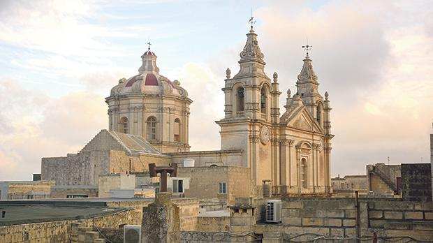 The view of St Paul's Cathedral in Mdina from the roof of Palazzo Falson.
