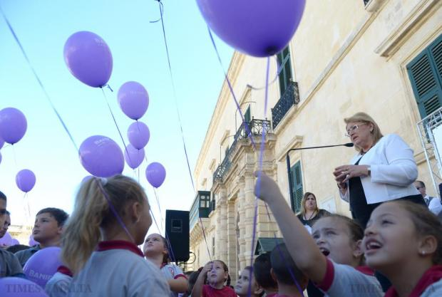 President Marie-Louise Coleiro Preca launches a charity fun run in St George's Square, Valletta on October 19 in aid of the Community Chest Fund. Photo: Matthew Mirabelli