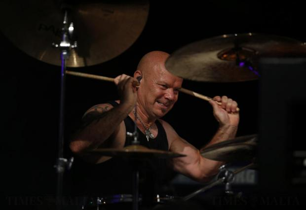 Drummer Russell Gilbrook of British legendary rock band Uriah Heep performs during their concert in Valletta on July 29. Photo: Darrin Zammit Lupi