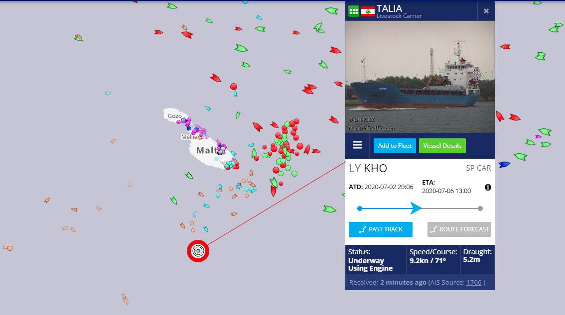 The Talia (red circle) was south of Malta as of 2pm on Saturday. Image: Marinetraffic.com