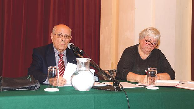 John Pace addressing the Friends of the Sick and the Elderly in Gozo general meeting in the presence of secretary Alison Rutland. Photos: Charles Spiteri