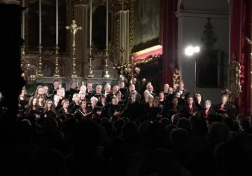 A choir performs at a Christmas carol event last December, right where the ceiling came crashing down. The event was organised by Natalis Notabilis.