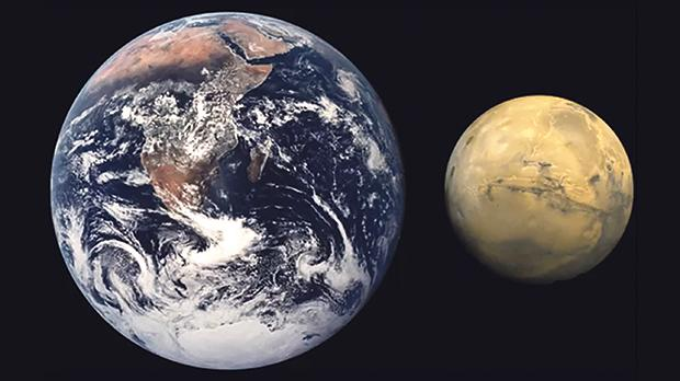 A comparison of the size of earth and Mars. Credit: NASA
