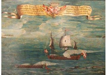The Gazzella d'Algier defeated between Lampedusa and Linosa by the San Vincenzo under the command of Fra Scipione Deaulx. Photo: Palazzo Falson Collection