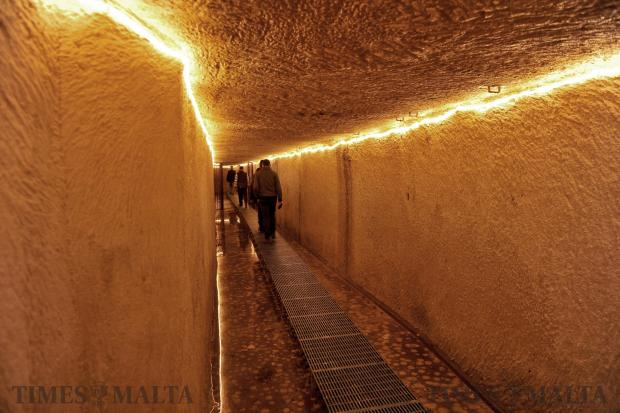 History buffs walk through a subterranean tunnel linking Castille to Auberge d'Italie after attending a lecture about the history of Valletta to celebrate the city's 450th anniversary on March 28. Photo: Chris Sant Fournier