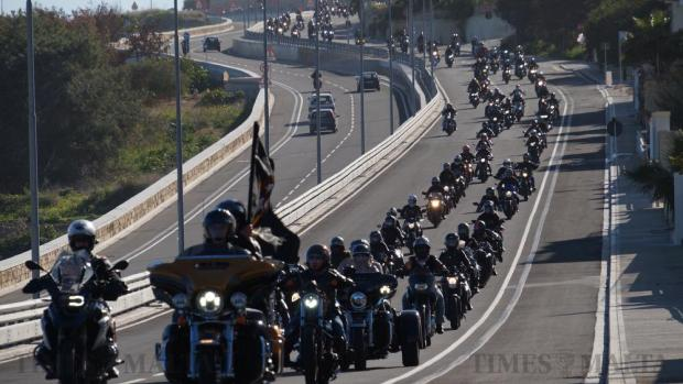 Hundreds of motorcyclists drive slowly along the Coast Road on their way to an emotional ceremony at the spot where motorcyclist Johanna Boni died instantly in a horrific crash in Naxxar a few days earlier, on January 10. Photo: Steve Zammit Lupi