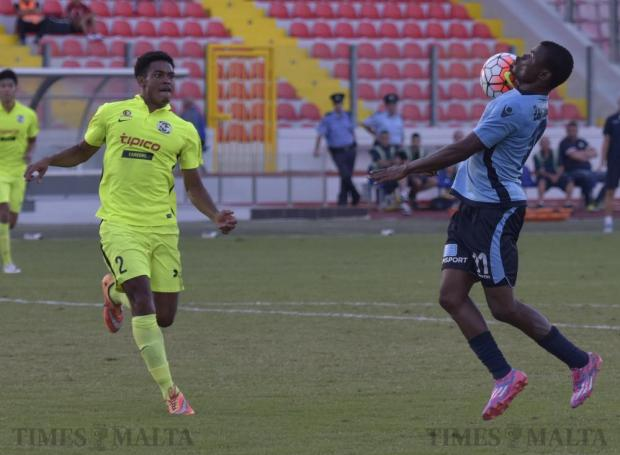 Sliema Wanderers' Wisdom Salomon controls the ball as St Andrews' Enmy Manuel Pena Beldre looks on during their Premier League football match at the National Stadium in Ta' Qali on September 21. Photo: Mark Zammit Cordina
