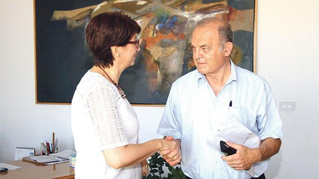 Frank Portelli handing in his nomination to PN secretary general Rosette Thake.