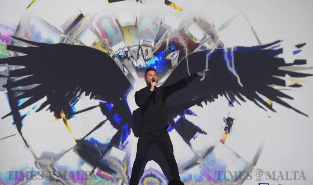 Russian singer Sergey Lazarev performs his song in the final dress rehearsal of the Eurovision Song contest in Stockholm, Sweden, on May 13. Photo: Mark Zammit Cordina